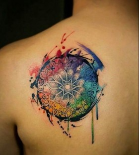 watercolor and dotwork mandala tattoo