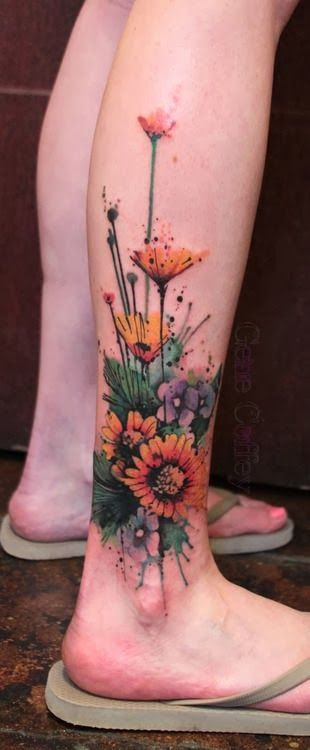 watercolor ankle tattoo