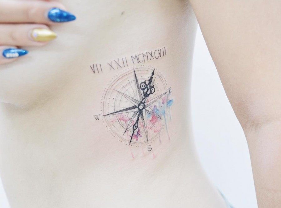 watercolor-compass-tattoo-by-tattooist_banul