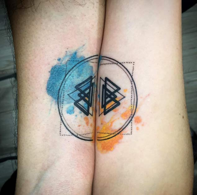 watercolor couple tattoo