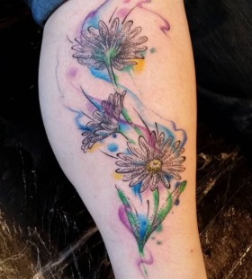 watercolor effect flower tattoo