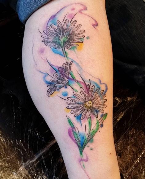watercolor effect flower tattoo