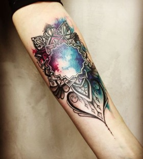 watercolor galaxy mandala tattoo