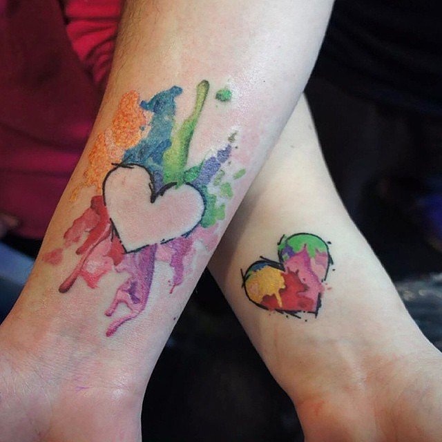 watercolor hearts couples tattoos
