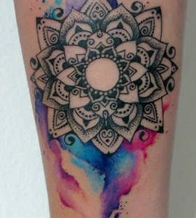 watercolor mandala tattoo