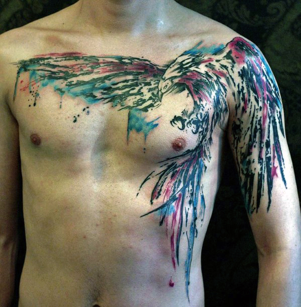 watercolor phoenix tattoos for men