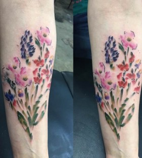 watercolor wild flower tattoo