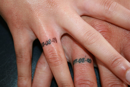 Sweet Memorable Numeral Wedding Ring Finger Tattoo