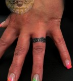 Modern Wedding Ring Finger Tattoo Design