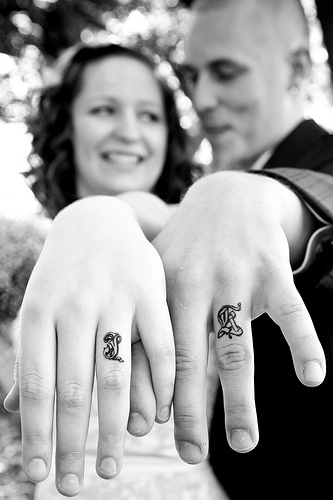 The Wonderful First Name Wedding Ring Finger Tattoo for Couple