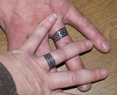 Custom Couple Wedding Ring Finger Tattoo Design