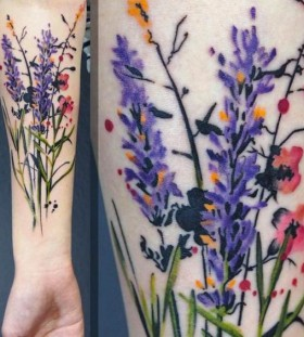 wildflower watercolor tattoo