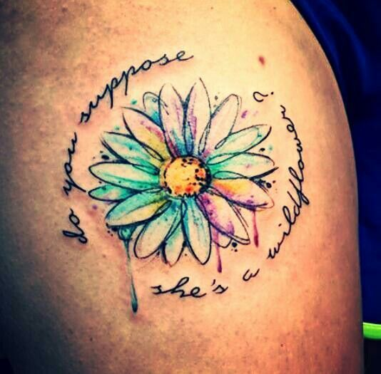 Wild flower watercolor tattoo