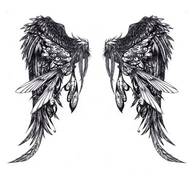 Combined Butterfly's and Angel's Wings Tattoo Design