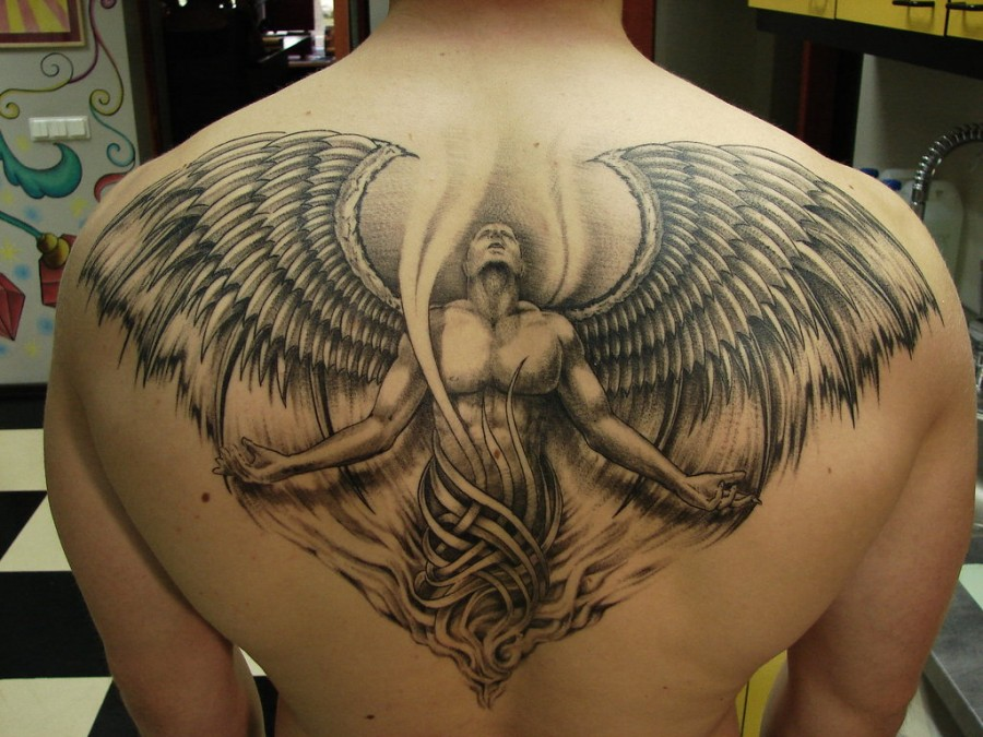 Amazing Angel with Wings Back-Tattoo Design for Men – Angel's Wings Tattoos