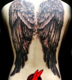 Cool Angel Wings Full-Back Tattoo for Women by Jackierabbit12 (NSFW)