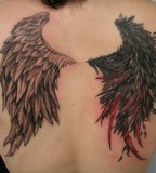 Full-back Body Angel's and Demon's Wings Tattoo for Girls