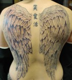 Full-Back Angel's Wings Tattoo and Chinese Letters Spine-Tattoo for Women