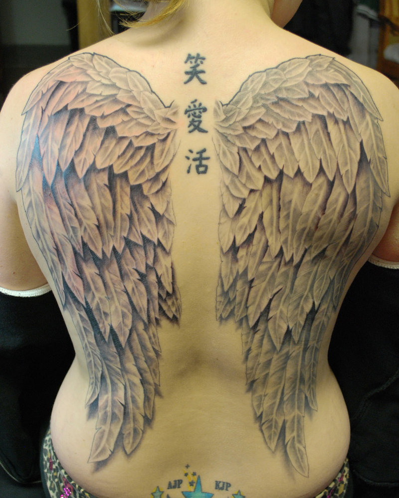 b41216d9c0921 Full-Back Angel's Wings Tattoo and Chinese Letters Spine-Tattoo for Women