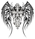 Tribal Angel Wings Design for Full-back Tattoo