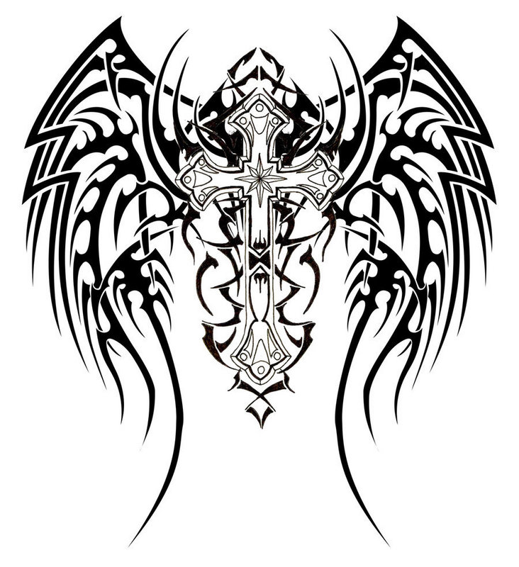 Tribal Angel Wings Design for Full-back Tattoo ...