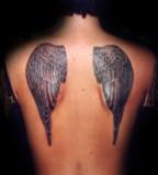 Unisex Black Angel's Wings Tattoo Design On Back