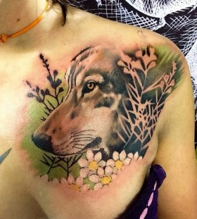 wolf-and-flower-tattoo