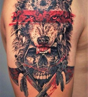 wolf-and-skull-tattoo