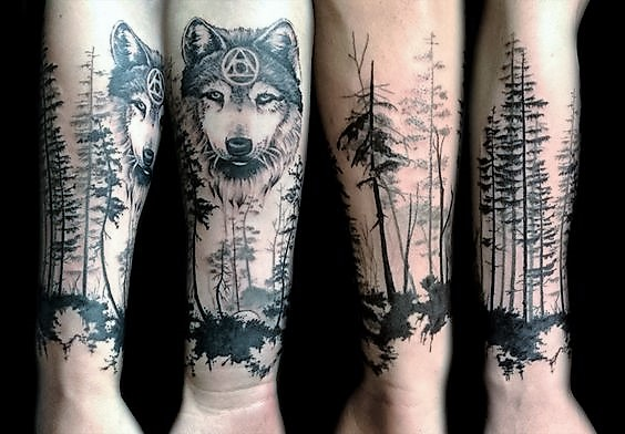 wolf-forest-tattoo