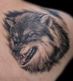 Angry Wolf Head Tattoo - Wolf Tattoo For Men