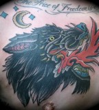 Chinese Wolf Tattoo Design For Men