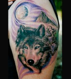 Wolf / Moon / Mountain Tattoo Art Design