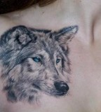 Shoulder / Chest Wolf Tattoo Design For Men
