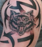 Tribal Wolf Tattoos On Bicep - Wolf Tattoo For Men Design