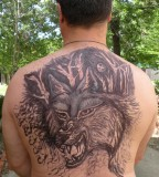 Man With Wolf Back Tattoo - Wolf Tattoo For Men