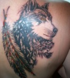 Back / Shoulder Wolf Tattoos For Men