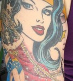 Half Sleeve Wonder Woman Tattoo Designs for Women