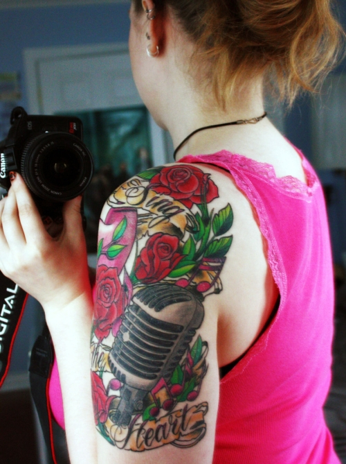 Cool Sleeve Rose Tattoos For Girls