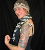 Cherry Blossom Sara Purr Tattoo Design for Women