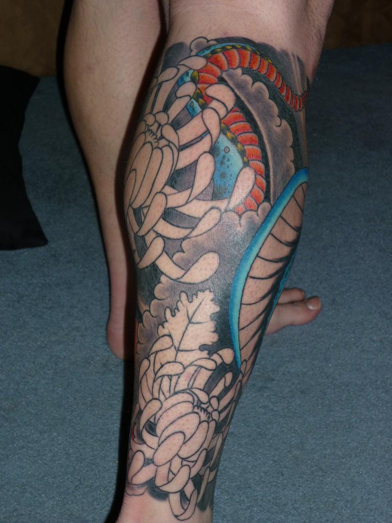 Freehand Skulls Leg Sleeve Tattoos Designs