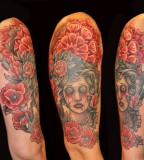 Lady With Poppies Half Sleeve Tattoo Design for Women
