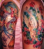 Amazing Colorful Quarter Sleeve Tattoo Design